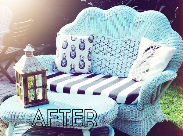 DIY vintage lounge chair and table renovation with spray paint