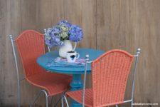 DIY orange painted wicker chairs