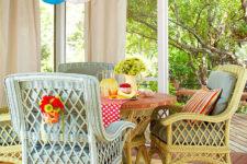 DIY pastel painted wicker chairs