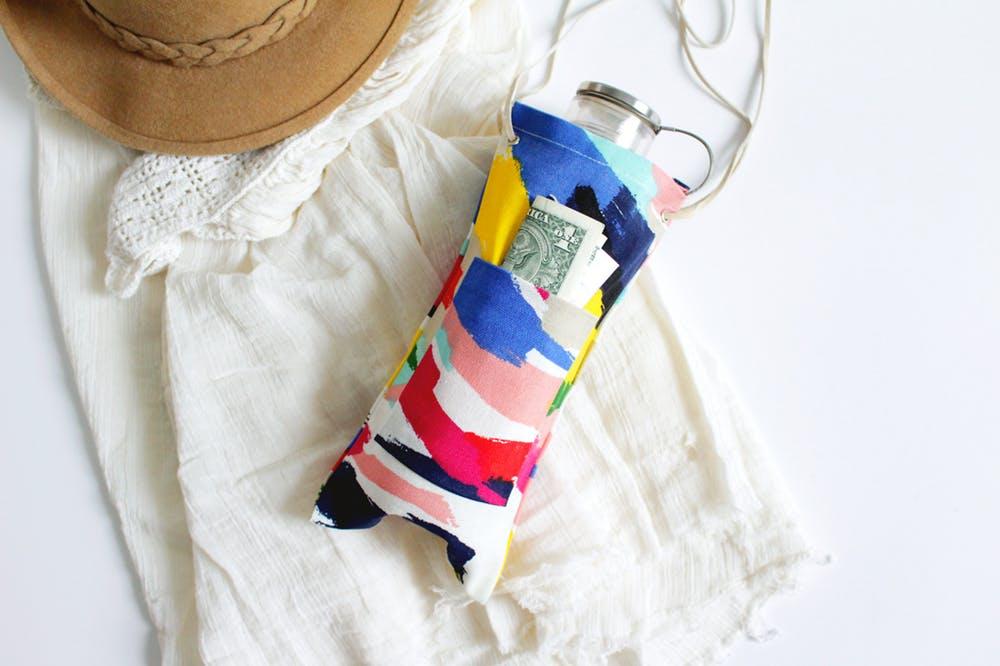 DIY colorful water bottle sling for festivals