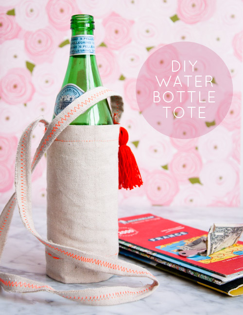 DIY canvas water bottle tote with a colorful seam
