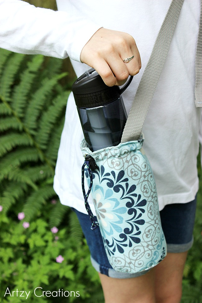 DIY water bottle carrier with a grommet