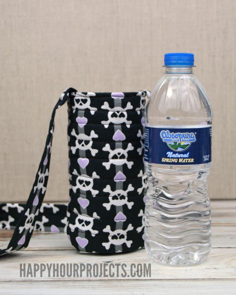DIY skull printed water bottle tote