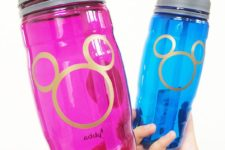 DIY colorful and vibrant bottles with a Mickey Mouse contour