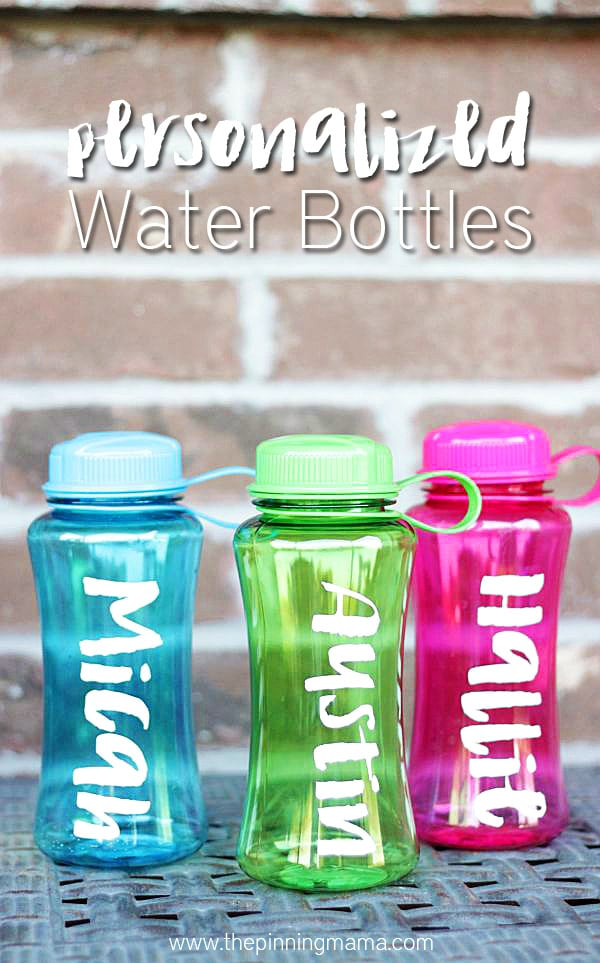 DIY transfer paper and vinyl water bottles (via www.thepinningmama.com)