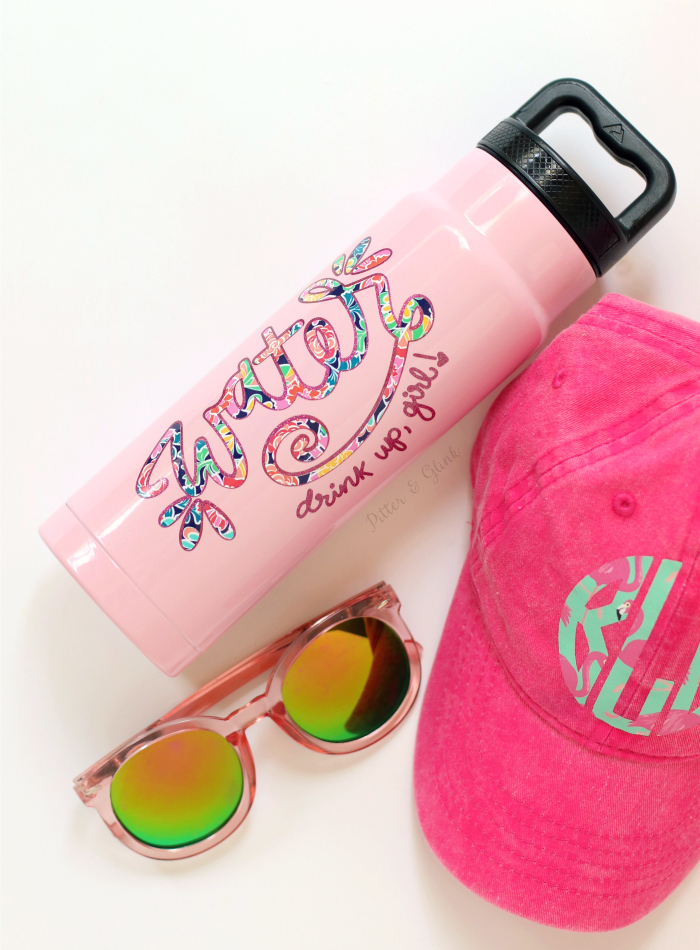 DIY girlish hand lettered water bottle (via www.pitterandglink.com)