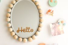 DIY wood bead frame mirror