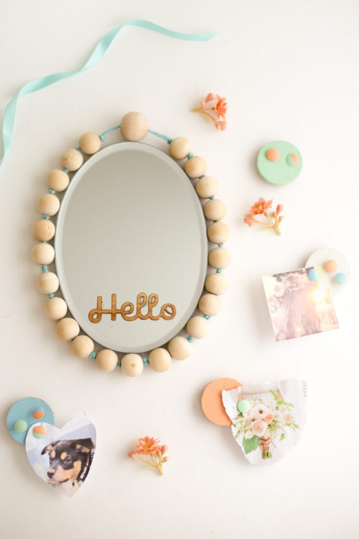 DIY wood bead frame mirror (via www.flaxandtwine.com)