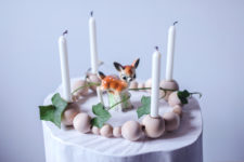DIY wooden bead candle holder