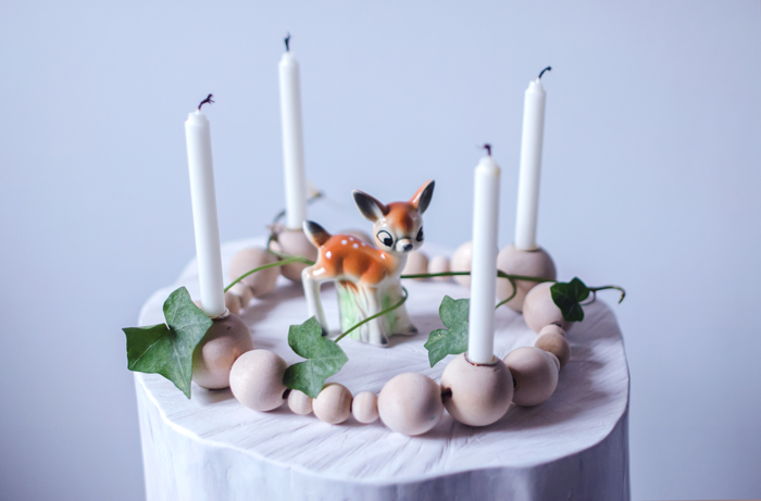 DIY wooden bead candle holder (via atilio.blogg.se)