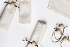DIY leather cord and wood bead napkin rings