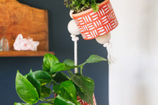 DIY hanging painted planters with wooden beads