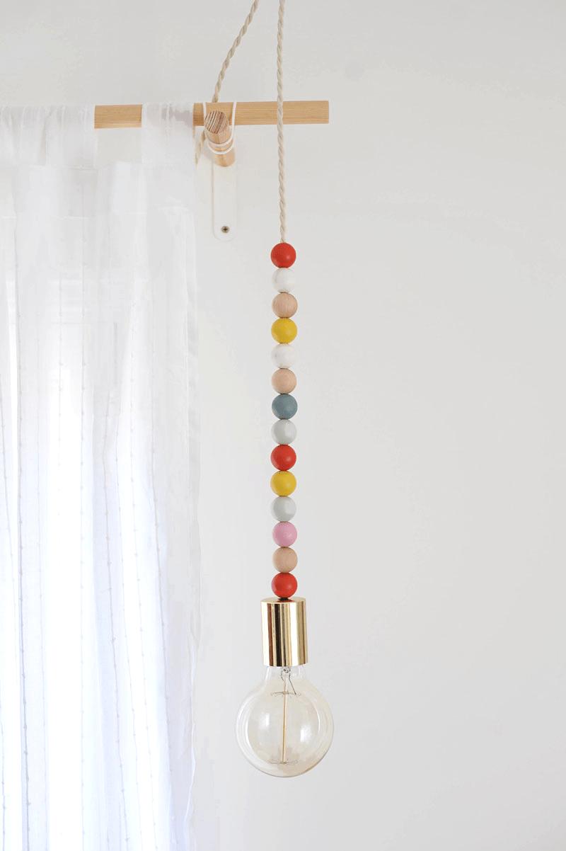 DIY colorful bead pendant light