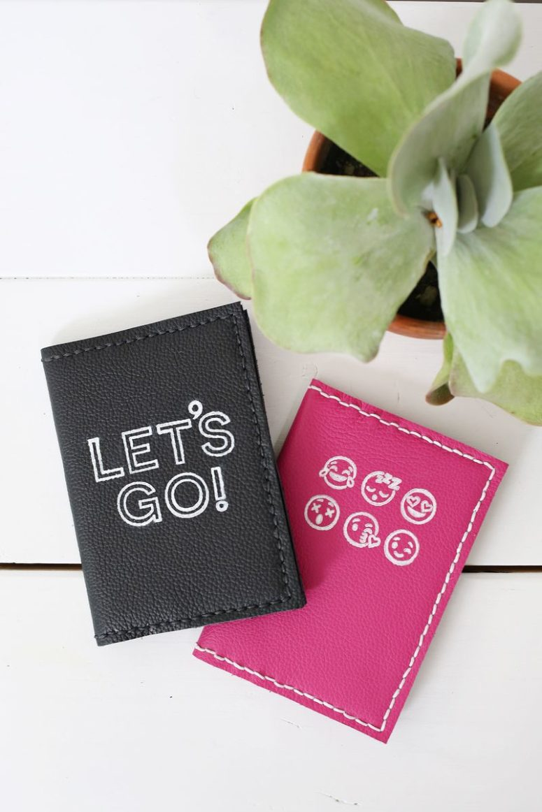 DIY modern leather passport holders with emojis and letters (via abeautifulmess.com)