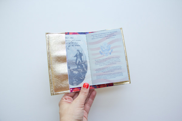 DIY metallic leather passport holder (via lovelyindeed.com)