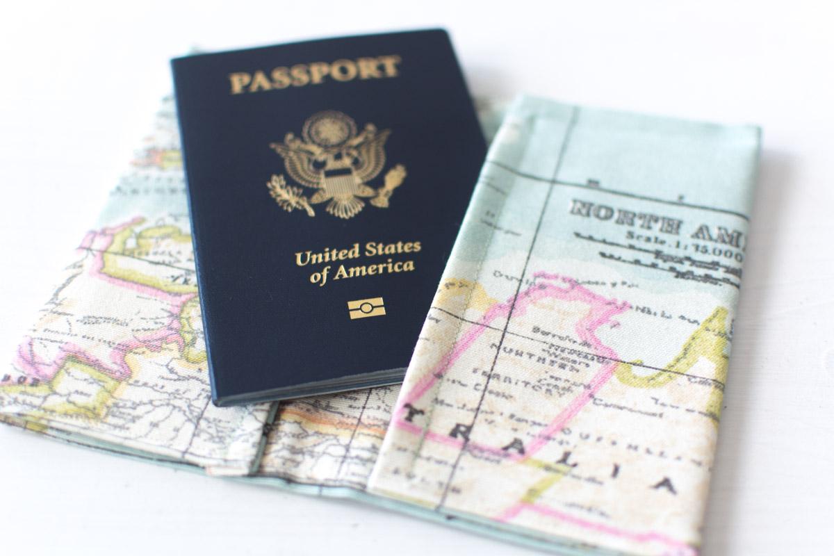 DIY map printed fabric passport cover