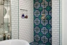 moroccan-inspired tiles in a bathroom