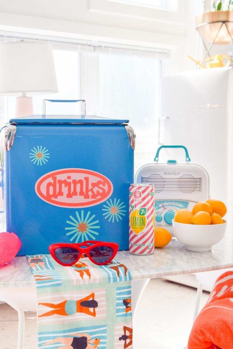 DIY colorful drink cooler spruced up with decals (via www.pmqfortwo.com)