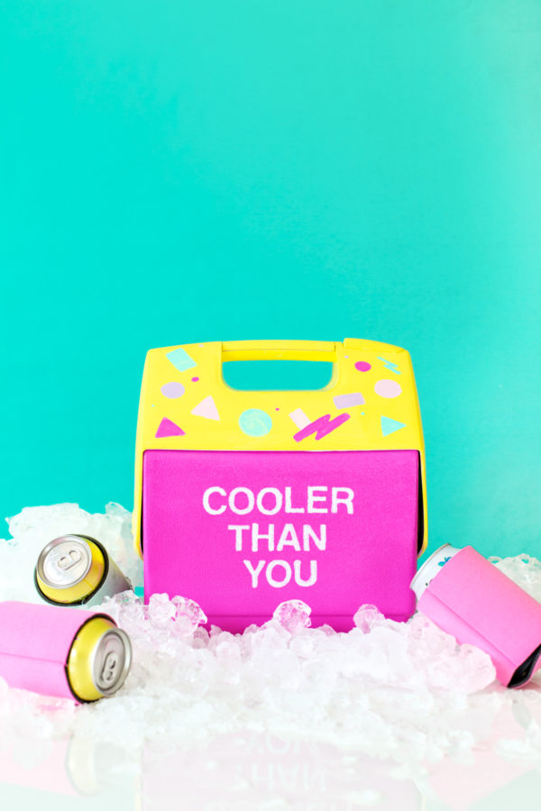 DIY neon drink cooler makeover with paints (via studiodiy.com)