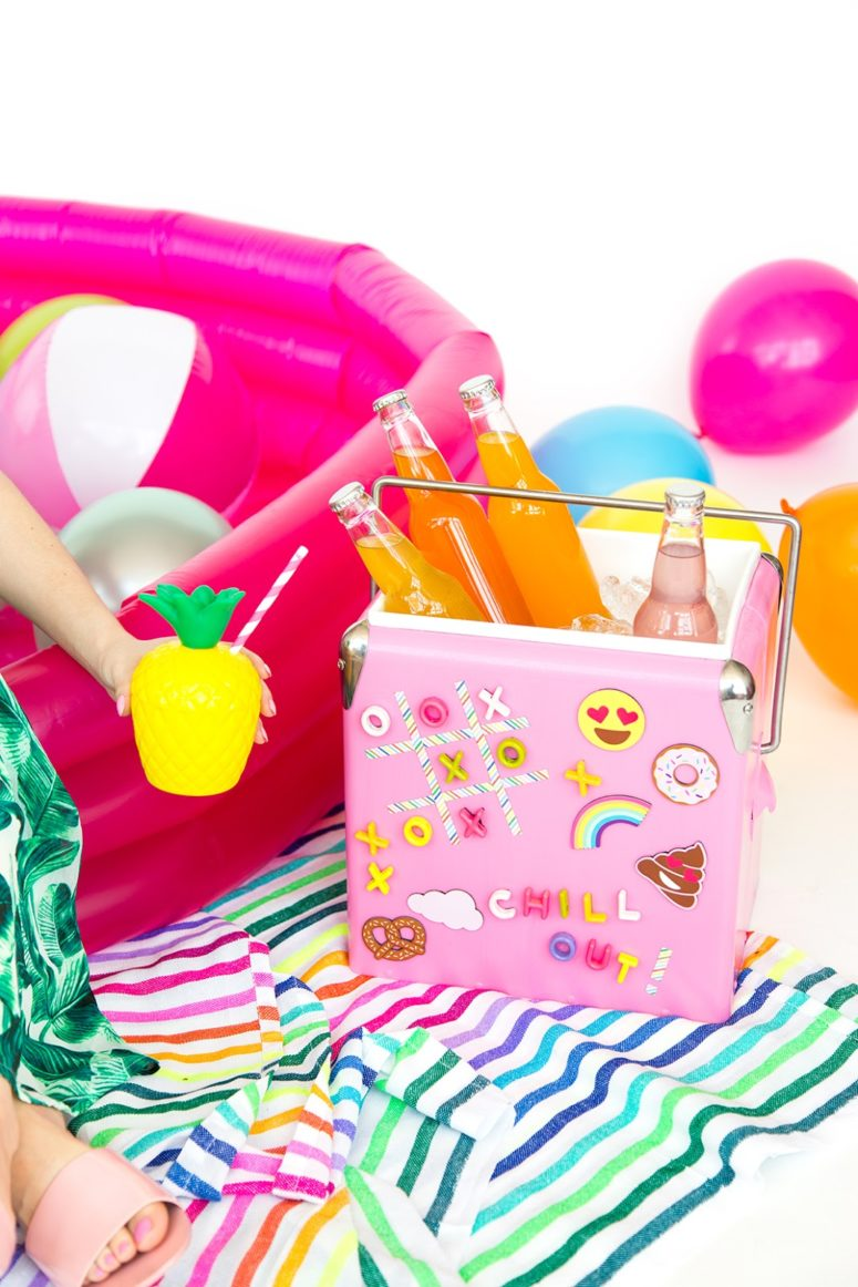 DIY fun pink drink cooler with little magnets (via www.awwsam.com)