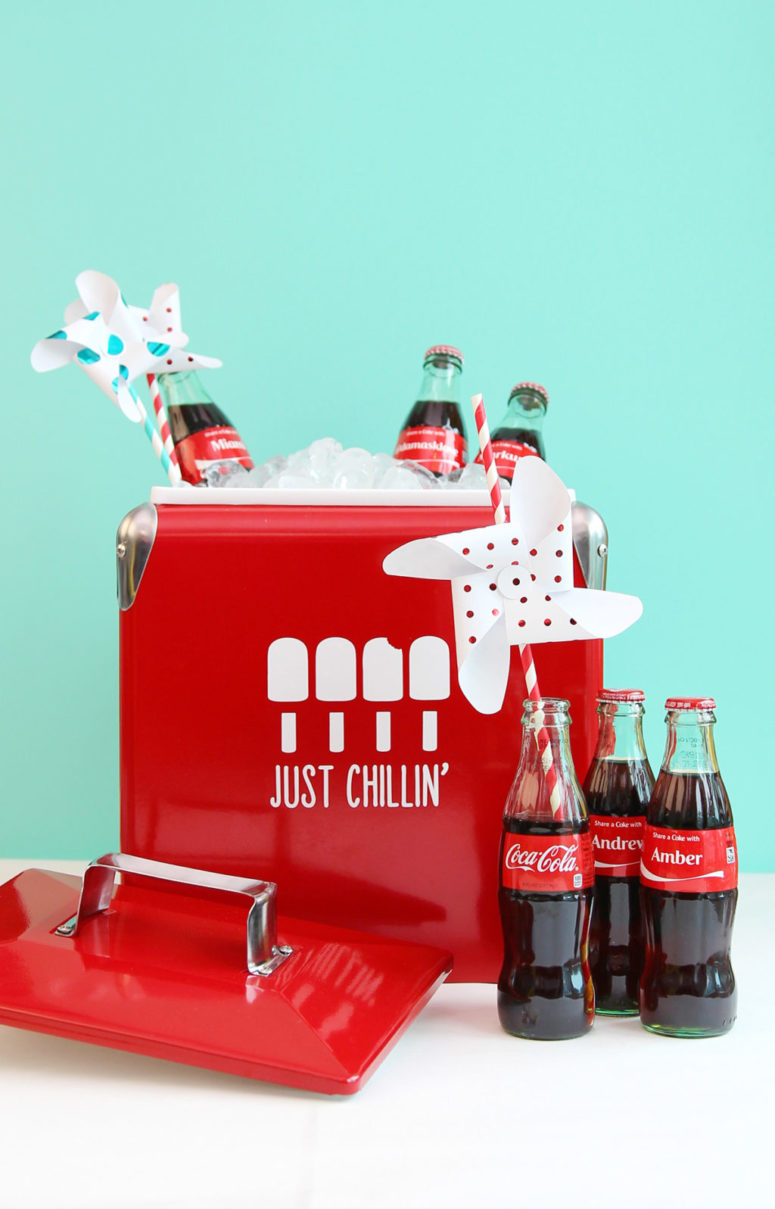 DIY red drink cooler spruced up with white paint (via damasklove.com)
