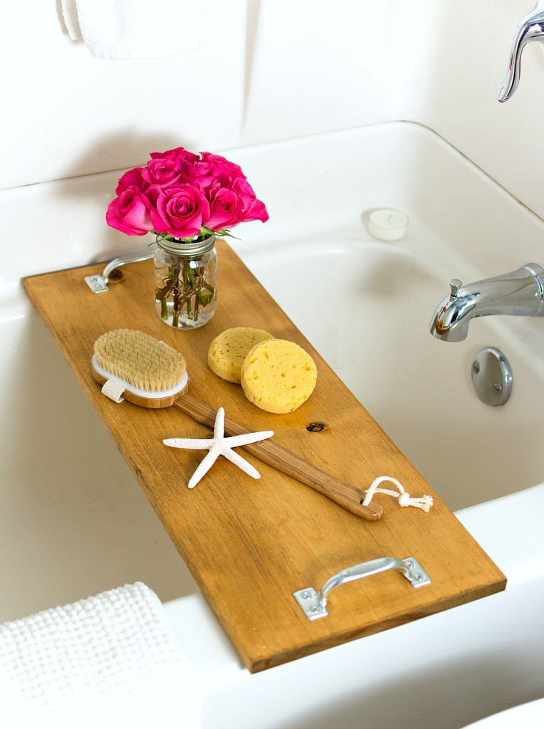DIY rustic vintage bath caddy with metal handles