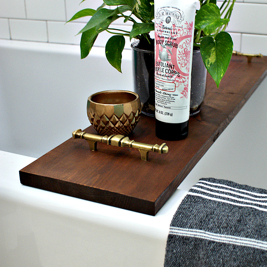 DIY dark stained vintage inspired bath caddy