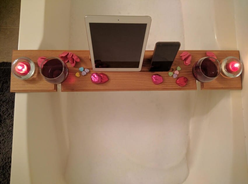 DIY wooden tray with two glass holders