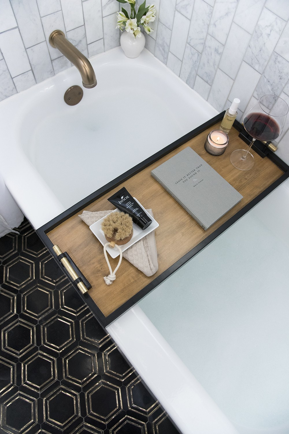 DIY minimalist bath caddy with black framing