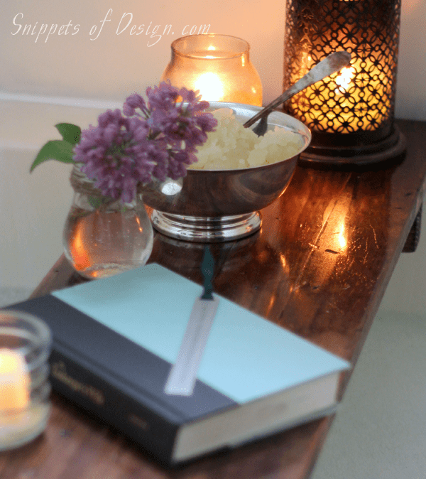 DIY dark stained wooden bath caddy