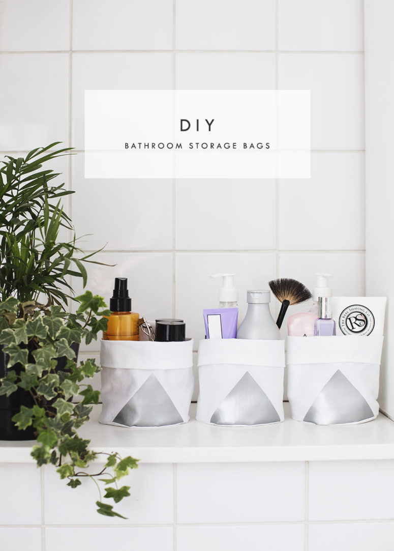 DIY cotton storage bags with metallic vinyl (via thelovelydrawer.com)