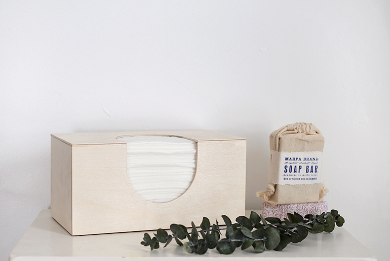 DIY wooden tissue box cover (via themerrythought.com)