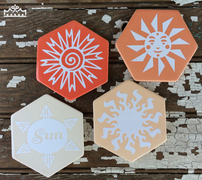 DIY bright hexagon tile summer coasters (via www.kingstoncrafts.com)