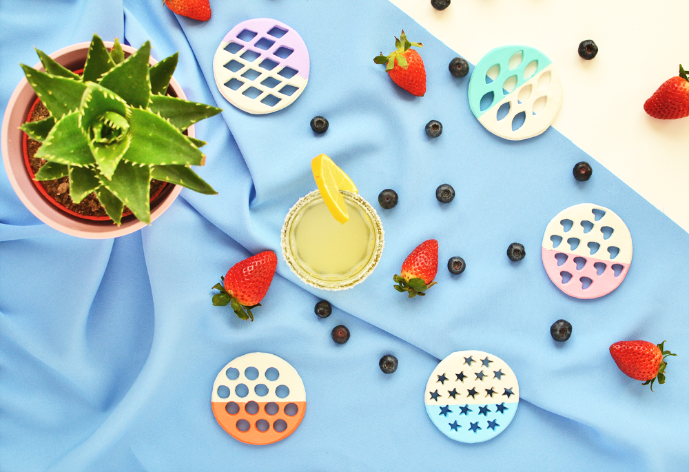 DIY colorful clay coasters with cutouts