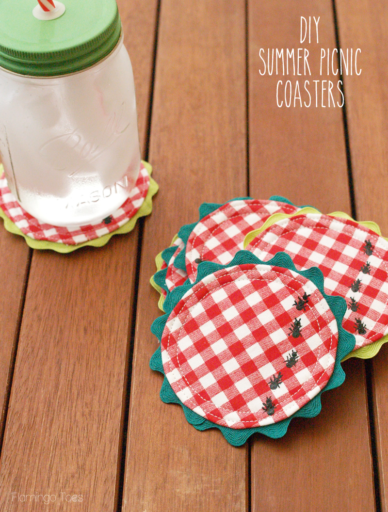 DIY gingham coasters with bugs