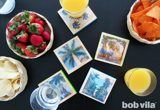 DIY photo tile coasters (via www.bobvila.com)