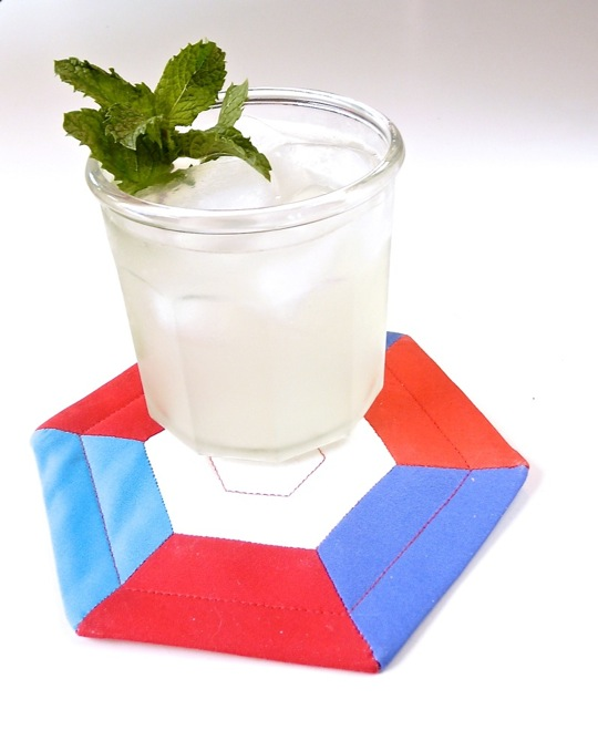 DIY colorful hexagon coasters (via www.swatchandstitch.com)