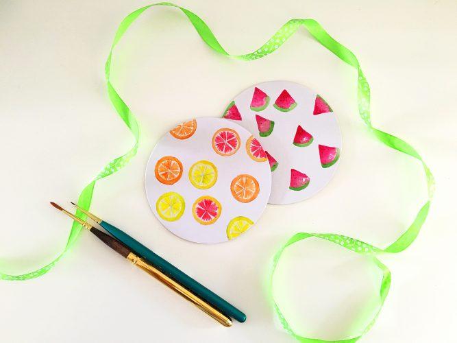 DIY watercolor fruit cardboard coasters