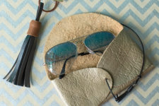 DIY metallic leather sunglasses case with a leather cord