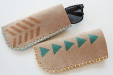 DIY brown leather sunglasses case with stitching and stenciling