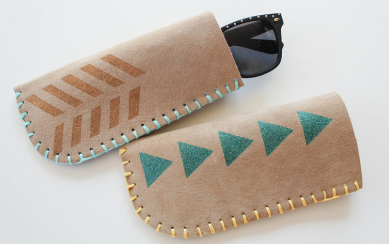 DIY brown leather sunglasses case with stitching and stenciling (via www.parlordiary.com)