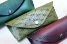 DIY leather sunglasses cases with laser etching and stamping