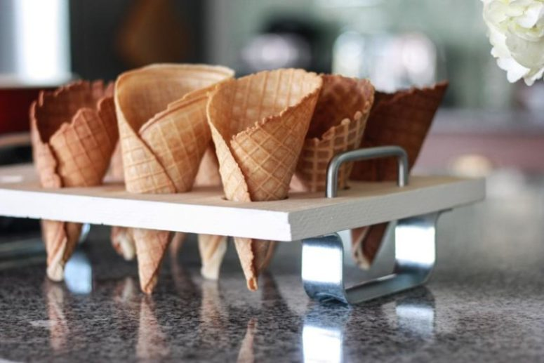 DIY ice cream cone tray of wood and metal (via www.worldmarket.com)