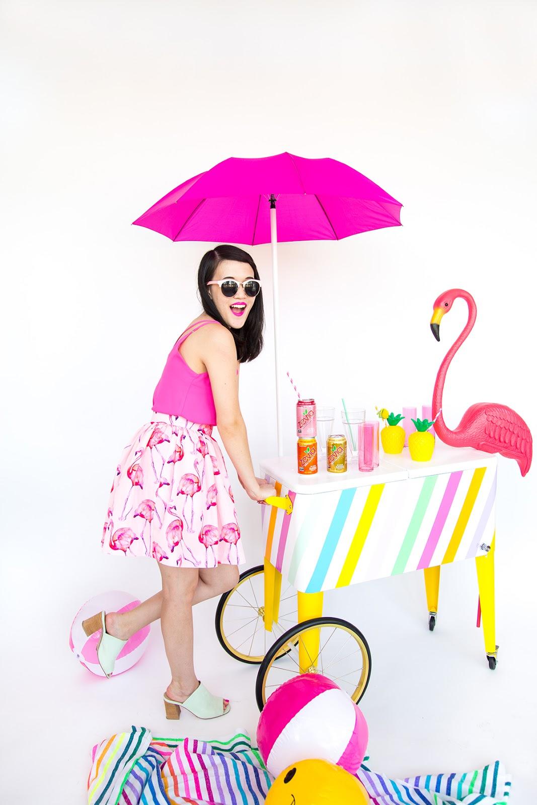 DIY rainbow ice cream cart