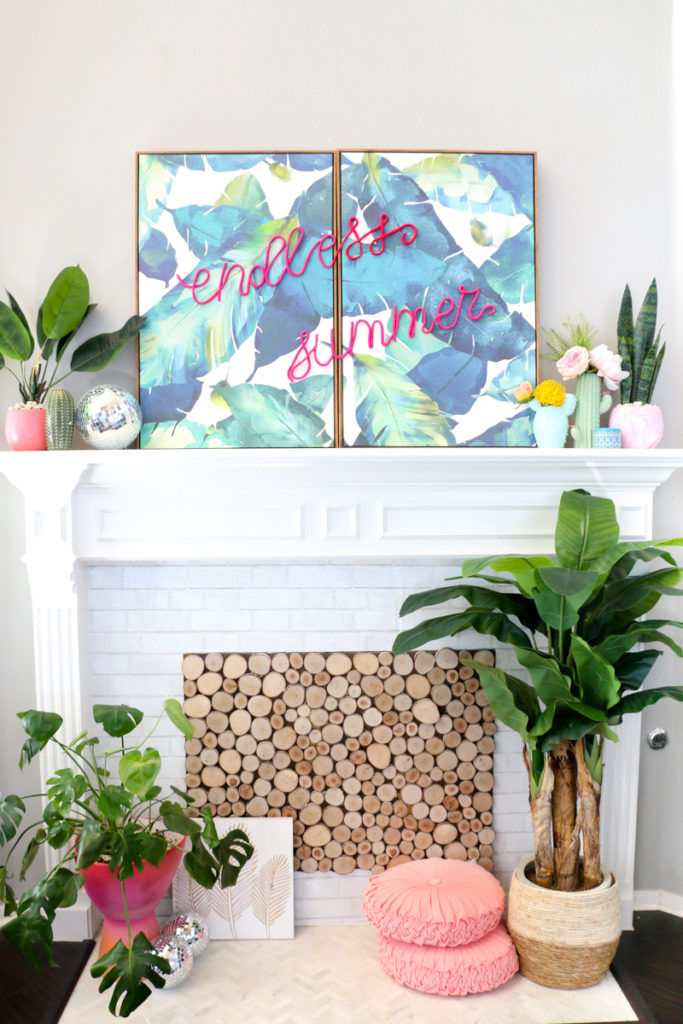 DIY tropical leaf signs with hot pink letters of clay (via akailochiclife.com)
