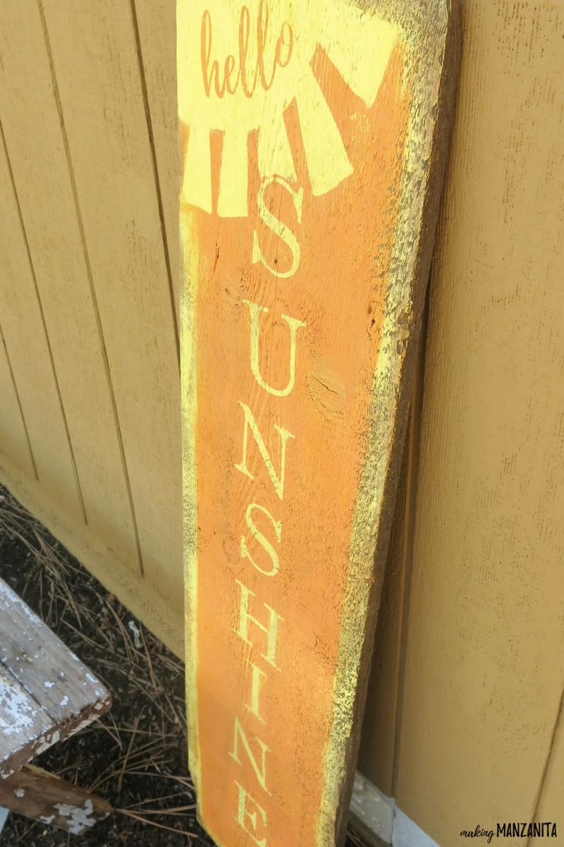 DIY vertical wooden sign in yellow and orange