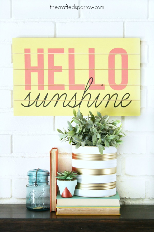 DIY colorful slatted wooden sign for summer (via www.thecraftedsparrow.com)