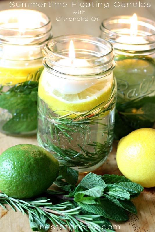 DIY citronella floating candles in jars with citrus (via www.nestofposies-blog.com)