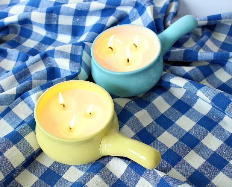 DIY colorfulsoup bowl citronella candles (via www.danslelakehouse.com)