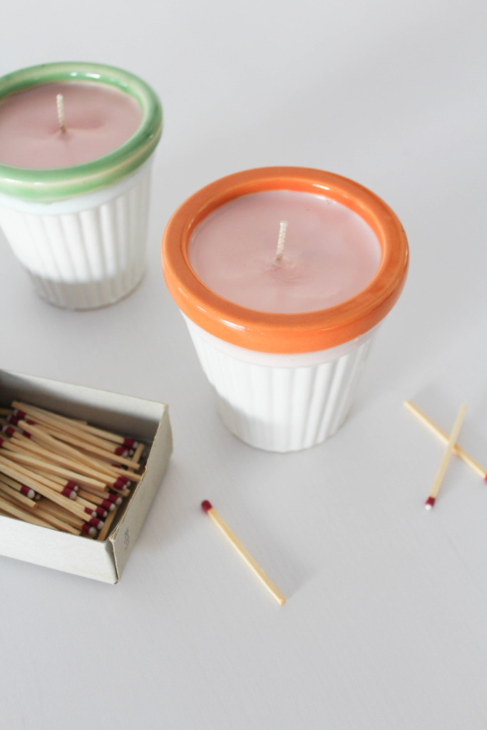 DIY citronella candles in pots with a colorful edge (via www.letsmingleblog.com)